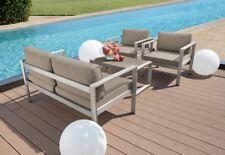 Ribelli® 4 teilige Aluminium Polyester Lounge Set Sitzgruppe Sitzgarnitur taupe
