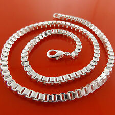 NECKLACE CHAIN REAL 925 STERLING SILVER S/F SOLID HEAVY CHUNKY BOX LINK DESIGN