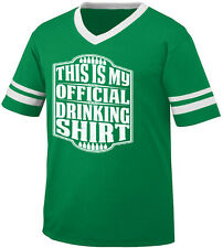 This Is My Official Drinking Shirt Bottles Booze Party Men's V-Neck Ringer Tee