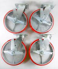 "8"" x 2"" Polyurethane On Cast Iron (Red) - Swivel with brake (4EA)"