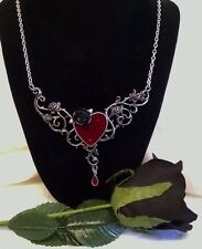 ALCHEMY NECKLACE - THE BLOOD ROSE HEART - GOTHIC ROMANCE JEWELLERY PENDANT