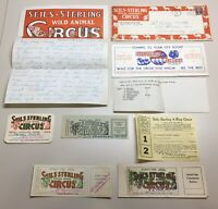 Vintage Seils-Sterling Wild Animals Circus Advertising & Tickets Lot, 9 Pieces
