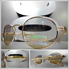 Men Classy Modern SUN GLASSES Oval Rose Gold & Wood Wooden Frame Light Tint Lens