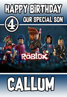RoBlox  Personalised birthday card with Envelope any wording and name age