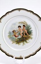 Antique Porcelain Portrait Cherub Putti Lake Beach Scene Plate Charger Gold Trim