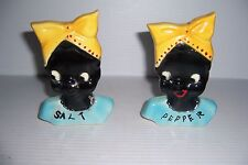 ANTIQUE VINTAGE BLACK AMERICANA LARGE SALT AND PEPPER SHAKERS WOMAN FIGURAL