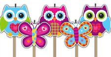 Pretty Owls Party Candles Pack of 5 Candles - 3 Owls and 2 Butterflies