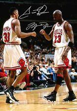 Michael Jordan Scottie Pippen Chicago Bulls Signed Autograph Signature A4 Poster