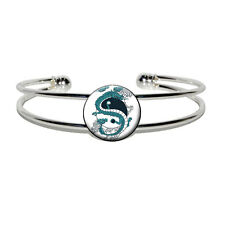 Yin and Yang Chinese Dragon - Novelty Silver Plated Metal Cuff Bangle Bracelet