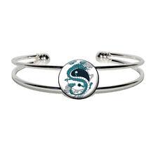 Silver Plated Metal Cuff Bangle Bracelet Yin and Yang Chinese Dragon - Novelty