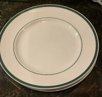 "Wiliams-Sonoma BRASSERIE GREEN 11"" Dinner Plates w/ verge line Set of 3"