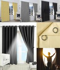 HOTEL QUALITY BLACKOUT CURTAINS EYELET PAIR RING TOP TIE BACKS READY MADE BLINDS
