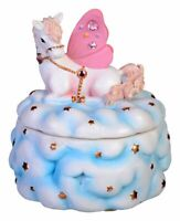 MUSICAL UNICORN trinket box pink blue gold jewellery clouds stars new baby gifts