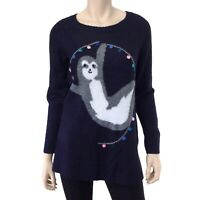 Lauren Conrad Women's Blue Sloth Graphic Long Sleeve Sweater Size S NWT