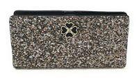Kate Spade Large Slim Bifold Adette Glitter Wallet Black WLRU5802 $129