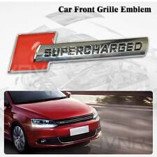 NEW Supercharged GRILL BADGE Metal Front Hood Grille Grill Emblem Badge For Audi