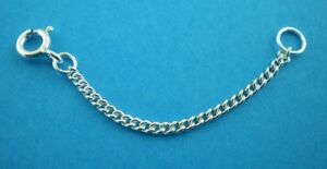 """925 Sterling Silver Chain Extenders Safety Chain Curb  1"""" to 8"""" Large Bolt Ring"""
