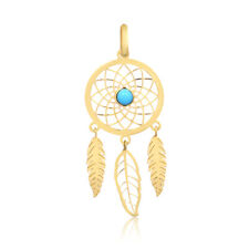 Dream Catcher 18k Yellow Gold Feather Turquoise Stone Pendant for Necklace