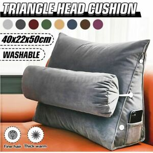 Large Triangle Back Cushion Lumbar Waist Support Pillow Sofa Home Bedroom Decor