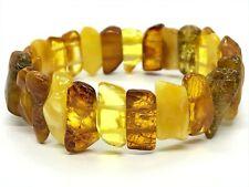 AMBER BRACELET Natural BALTIC AMBER Yellow Honey Beads Elastic Jewelry 15g 10372