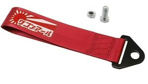 JDM RAISING SUN High Strength Tow Strap for Front Rear Bumper Towing Hook-Red