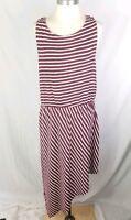 A New Day Womens Size XXL Maroon Striped Sleeveless Assymetrical Dress Summer C5