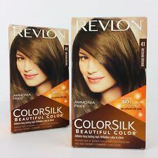 Revlon Colorsilk 41 Medium Brown Permanent 2 APPLICATIONS Ammonia Free 3D Color
