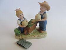 "Homco Denims Days Figurine Porcelain #1512 ""The Melon Patch"" 1985 Gc"