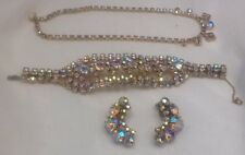 Vintage Aurora Borealis Rhinestone Necklace Earrings Bracelet 3 pc Parure Set AB