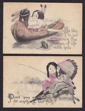 2-Bernhardt Wall-Indian-Children-Canoe-Frog-Fishing-Antique Postcard Lot