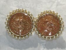 CHANEL 2 TANGERINE CC LOGO FRONT COLOR PEARLS  16 MM / UNDER 3/4 '' NEW LOT 2