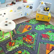 Tapis de jeux Circuit voitures Campagne 145x200 cm - Chambre enfant garçon fille