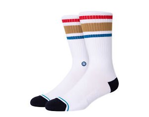 Stance Casual Boyd ST White/Brown Crew Socks A556A20BOS-WBR Large