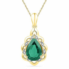 10k Yellow Gold Womens Pear Lab-Created Emerald Solitaire Diamond Pendant 3-3/8