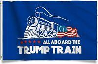 Trump 2020 All Board the Trump Train Donald Trump MAGA Boat Flag 3'x5' Blue