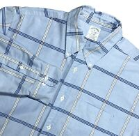 BROOKS BROTHERS MENS L/S REGENT SUPIMA COTTON BLUE PLAID BUTTON DOWN SHIRT SZ XL