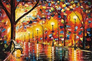 Oil Painting Hand Painted,Rain Night, 91 X 61 cm