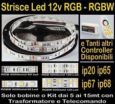 STRISCIA LED 12v RGB, RGBW Kit da 5 10 15 metri Strip, Trasformatori, Controller
