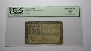 1770 $8 Annapolis Maryland MD Colonial Currency Bank Note Bill VF25 PCGS Eight