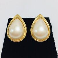 Monet Vintage Faux Pearl Teardrop Earrings Gold Tone Pierced