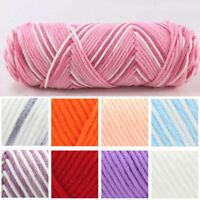 100g Thick Warm Crochet Knitting Hand-woven Milk Soft Cotton Wool Yarn Colorful