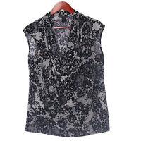 Ann Taylor Women's Black Drape Neck Floral  Blouse - Size Large