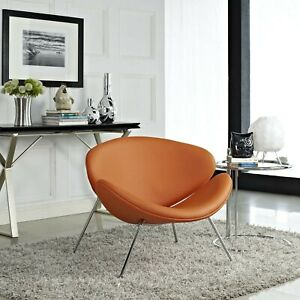 Mid-Century Modern Faux Leather Accent Lounge Chair With Metal Legs in Orange
