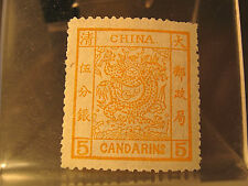 "CHINA - IMPERIAL ""LG. DRAGON"" THIN PELURE - WIDE MARGINS - YELLOW OCHRE VF - MNH"