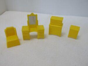 Marx Brand Plastic Dollhouse Miniature Vanity & Chair, End Table & Bureau Set