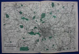 ENVIRONS OF MANCHESTER, original antique map, Weller, Bacon, 1884