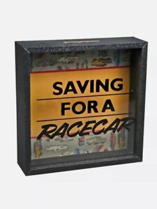 """""""SAVING FOR A RACE CAR"""" MONEY BOX BANK / GLASS FACE / GIFT IDEA / NEW SEALED"""