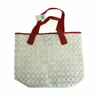 Saks Fifth Avenue 'Red White Faux Leather Perforated Tote Bag' New