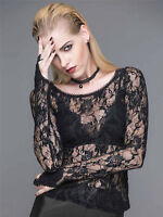 Devil Fashion Women Rock Black Rose Lace goth Sexy Top punk tshirt Perspective