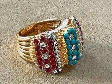 HSN Princess Amanda Yellow Gold Gp 4.06ct Created Ruby Cz Wide Ring Size 10
